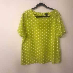 J Crew chartreuse polka dot short sleeve blouse